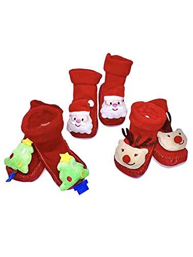 SHOP Shai handgemachte3D Weihnachts - Baby Prewalker Schuhe, Süße Baby Boden Socken für Weihnachten (Rot/weiß)