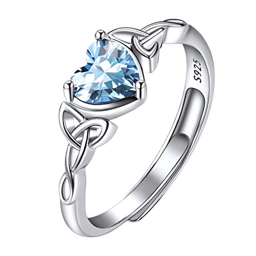 March Birthstone Rings for Women Sterling Silver, Women's Statement Rings, Adjustable Engagement Solitaire Rings, Celtic Knot Heart Shaped Aquamarine Crystal Rings