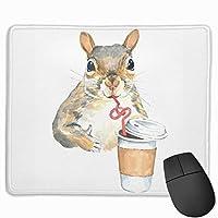 マウスパッド かわいい リス コーヒー Mousepad ミニ 小さい おしゃれ 耐久性が良 滑り止めゴム底 表面 防水 コンピューターオフィス ゲーミング 25 x 30cm