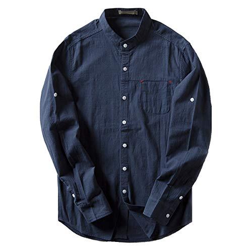 「Ealmenn」メンズ スタンドカラーシャツ リネン yシャツ バンドカラーシャツ 綿麻 無地 麻シャツ 通勤シャツ 襟なし 立襟シャツ