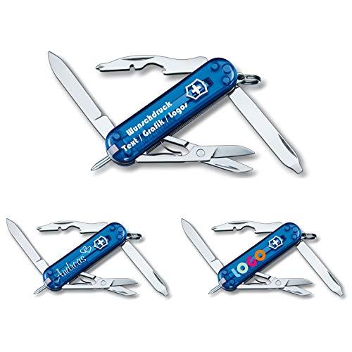 Victorinox Taschenmesser Manager mit Wunschdruck auf der Schale I Geschenk für Männer I Geschenke zum Geburtstag I Schweizer Taschenmesser personalisiert 11 Funktionen 0.6365 (blau transparent)