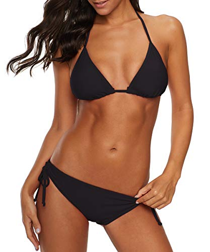 Durio Bikini Damen Push up Sexy 2tlg Bikini Damen Set mit Triangel Bikinihose Breit von Körpchen Verstellbar Schwarz EU 36 (Herstellergröße S)