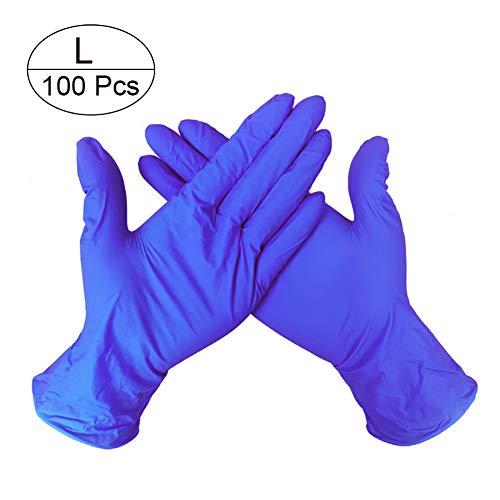 Wegwerp Nitril Handschoenen, Latex Gratis, Poedervrij, Getextureerd, Niet-terile Handschoen voor het reinigen van Koken Haar Kleurplaten Vaatwasser Voedsel Veilig, S/M/L, Doos van 100 Large Donkerblauw
