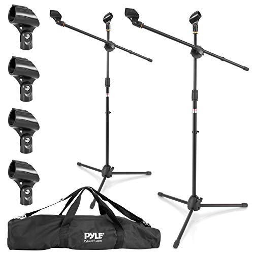Universal Adjustable Tripod Microphone Stand - Pair of Heavy Duty Lightweight Professional Compact Extendable Stage Studio Floor Standing Boom Mic Holder w/ Carry Bag, 5/8' Adapter - Pyle PMKSKT35