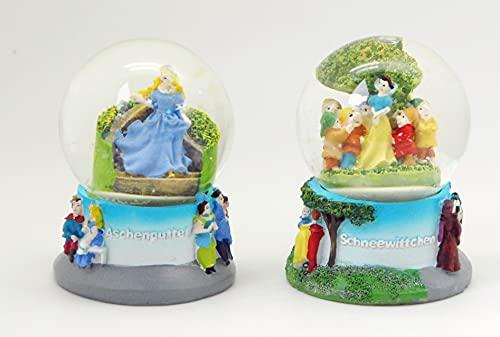 3-36-40 Minium Collection - Bolas de nieve (2 unidades, 65 mm de diámetro, con burbuja de aire), diseño de princesas de Cenicienta, color blanco