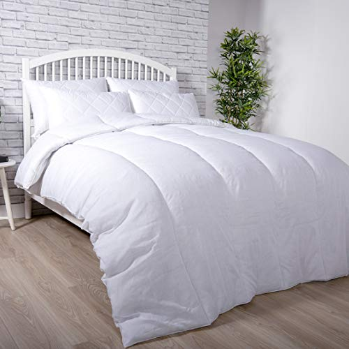 Adams Home Premium Duvet (13.5 Tog, Double) – Super Soft and Warm Hollowfiber Filled Quilt – Hotel Quality Polycotton Comforter – Anti-Allergy White Duvet Insert
