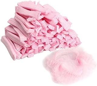 Hlraizz Non Woven Disposable Dust Cap, 100 PCS Hair Shower Bouffant Cap Pleated Anti Dust Hat Set (pink)