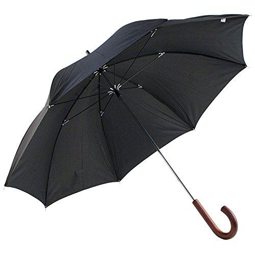 DUA Mens Walking Length Black Umbrella with Wood Handle