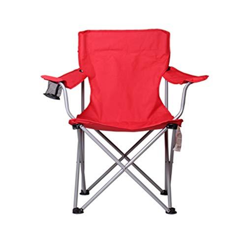 Schwerelosigkeitsklappstuhl RENJUN- Camping-Klappstuhl 600D Oxford Stoff Anti-Rutsch-Fuß-Design Armlehnenbecherhalter Belastbarkeit 100 Kg -rot