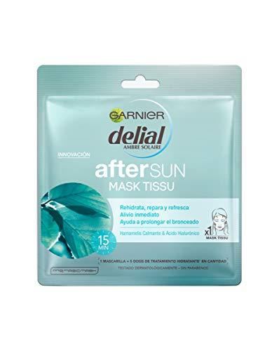Garnier Delial After Sun Mask Tissue, Mascarilla Hidratante y Calmante - 10 unidades