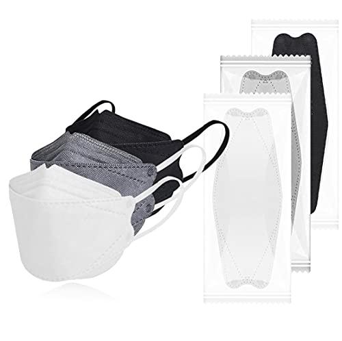 KF94マスク 不織布 カラー 【30枚/50枚】 個包装 大きめ 血色マスク 4層 3d 立体構造 使い捨てマスク 通気快適 息がしやすい 耳が痛くない 口紅が付きにくい メガネが曇りにくい 飛沫防止 uvカット 大人用 男女兼用 (BL+WH+GR, 30枚)