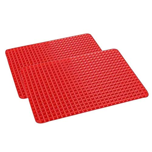 LIKUGD 2 Pack Silicone Baking Mat Oven Non-Stick, Best Healthy Cooking Heat-Resistant for Grilling BBQ 3927.5Cm,Red