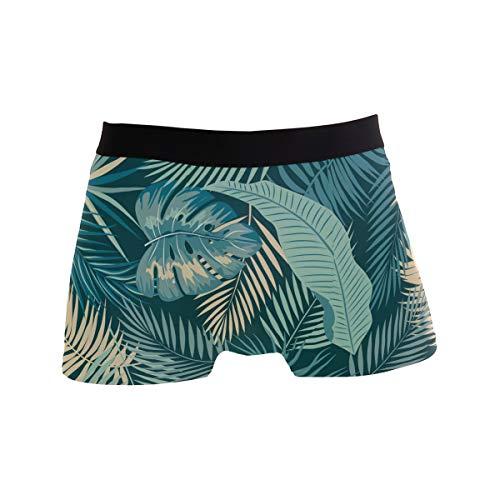 BONIPE Boxershorts für Herren, Tropische grüne Palme, exotische Pflanzen, Stretch, atmungsaktiv, niedrige Höhe, Größe S Gr. L, Mehrfarbig