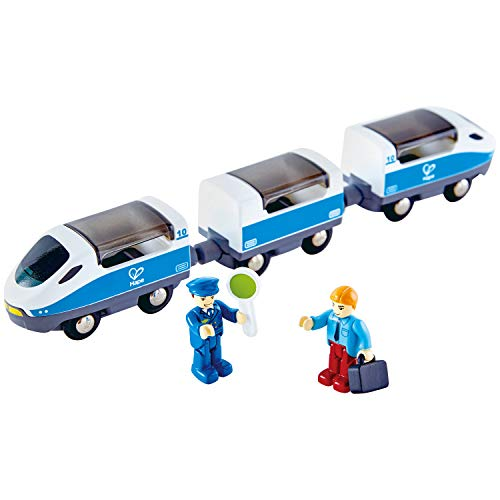 Hape E3728 Intercity Train Toy , Kids Train Toy Set with Accessories, 3 x Open/Close Magnetic Carriages, Passenger and Driver Figurines Included, Multicolor, 10.63 x 1.5 x 1.97, 7 Pack