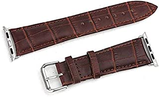 Leather Watch band 38mm for Apple watch by crocodile pattern with Strap connector - Brown