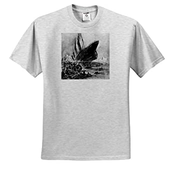 3dRose Florene Vintage - 1912 Artists Rendering of Sinking of The Titanic - Adult Birch-Gray-T-Shirt 2XL  ts_80330_22