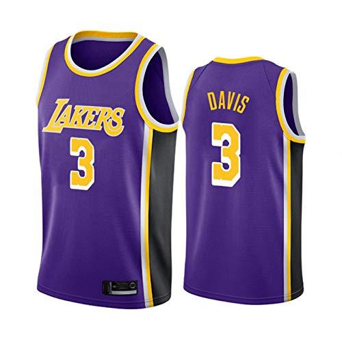 Ropa de baloncesto para hombres, Los Ángeles Lakers # 3 Anthony Davis Swingman Nba Jersey, deportes al aire libre Uniformes de baloncesto Camiseta sin mangas Camiseta deportiva Chaleco superior,3,L