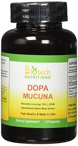 Biotech Nutritions Dopa Mucuna 15% L-Dopa (Mucuna pruriens) 120 Vege Capsules Made in USA