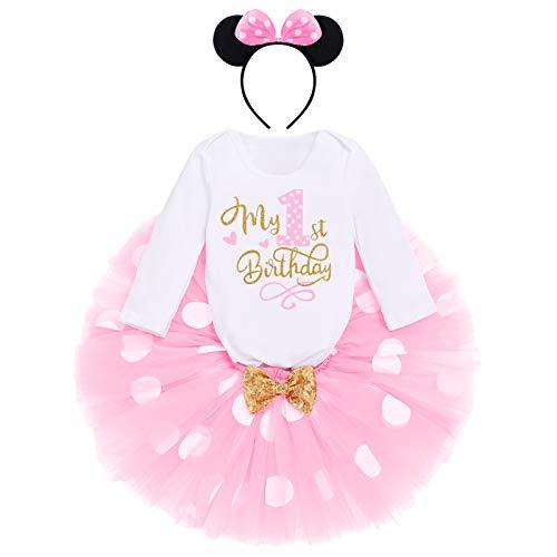 Kleinkinder Baby Mädchen 1./2./ 3.Geburtstag Disney Minnie Outfit Baumwolle Langarm Strampler+Prinzessin Polka Dots Tüll Tutu+Maus Ohr Stirnband 3tlg Bekleidungsset Rosa-My 1st Birthday 1 Jahre