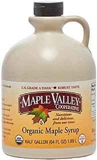 Maple Valley Grade A Dark & Robust (formerly Grade B) Organic Maple Syrup - 1/2 Gallon (64 Oz) BPA-free Jug