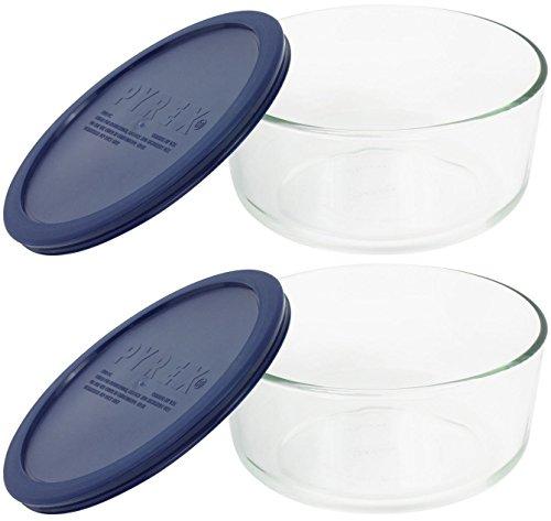 透明耐热玻璃4杯圆形储物碟,深蓝色塑胶盖(每包2个容器)