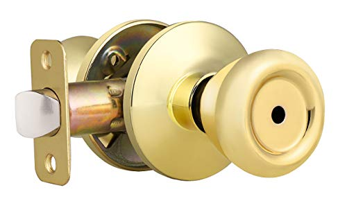 Privacy Keyless Door Knobs Interior Bathroom Bedroom Door Lockset, Solid Steel, Polished Brass, Tulip Style Privacy Door Knobs