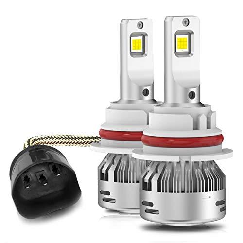 LASFIT LED Headlight Bulbs 9004/HB1 72W 7600LM LED Headlight Conversion Kits -Internal Driver Dual Beam Hi/Lo Beam 6000K White (Pack of 2)