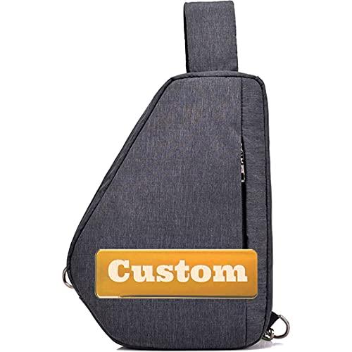 Nombre Personalizado Mens Copo DE Corte Moda Bolsa de Hombro Sling con Bolsa de Hombro de la Escuela USB (Color : Gris, Size : One Size)