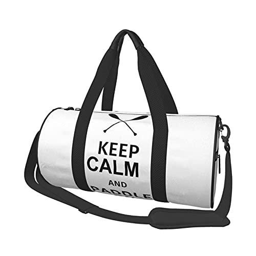 Borsone da viaggio con scritta 'Keep Calm and Paddle On', per sport, palestre e weekend