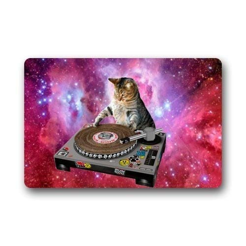 Cool DJ Cat Funny Animal Pet Felpudos Alfombrilla Alfombrillas de felpa Bienvenido Felpudo 40cm * 60cm