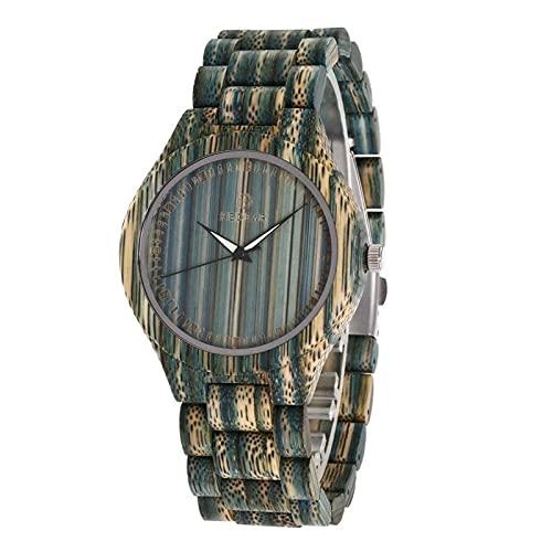 Shmtfa Parejas Relojes Madera Redondos Reloj Pulsera Unisex Cuarzo AnalóGico Life CronóGrafo Impermeable con Correa Madera Ajustable para Hombres Y Mujeres DecoracióN(Masculino)