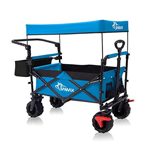SAMAX Chariot de Jardin Pliable avec Toit Amovible Chariot de Transport à Main - avec Frein et Sac arrière - Charrette à Bras Remorque á Main Pliante Offroad - Bleu