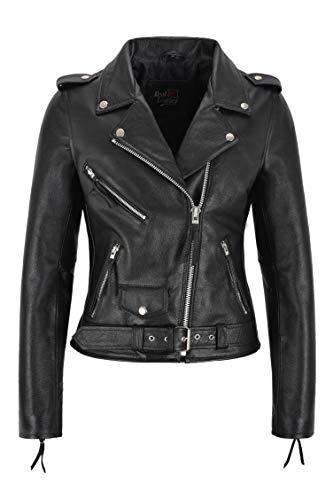 Carrie CH Hoxton Damen Biker Lederjacke Schwarz Rindsleder Damen Perfecto Classic Jacke (36 EU)