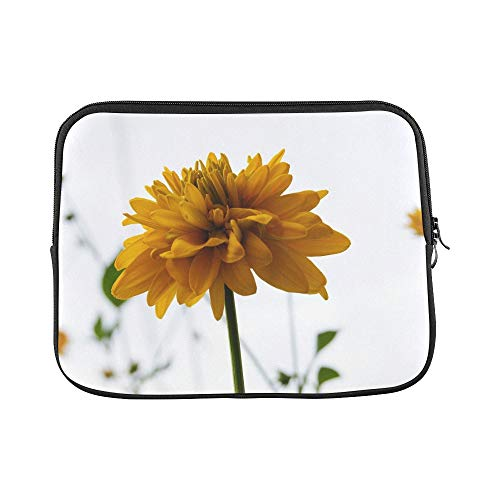 Design Custom Yellow Flower Single Yellow Flower Hibiscus Alone Sleeve Soft Laptop Case Bag Pouch Skin for MacBook Air 11'(2 Sides)