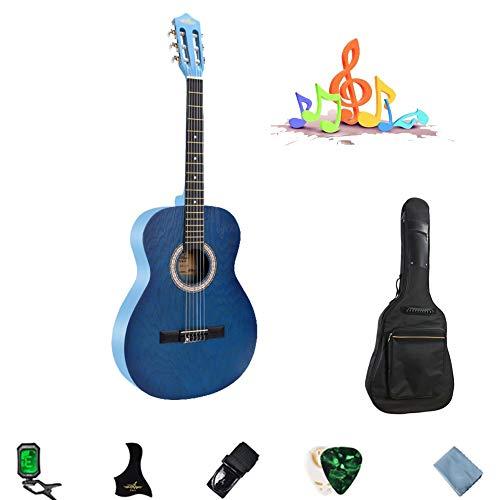YJFENG 39 '' Konzertgitarre Glatte Drahtschnur Geringer Saitenabstand Einfach Zu Spielen Mit Elektronischem Tuner Cutaway-Gitarre Mädchen, 4 Farben (Color : Blue, Size : 99.1cm)