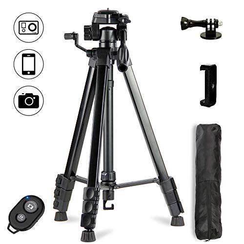 Dezuo 172cm Aluminium Kamera Stativ für Handy, iPhone, Gopro mit Adapter und Universellen Smartphone Halterung und Bluetooth Fernbedienung