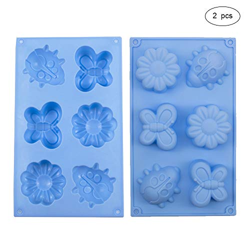 WANDIC Soap Silicone Mold, 2 soorten Set van 2 Stks Bloem Voetafdruk Zeep Silicone Mold, Zelfgemaakte Sope Maken Mold Supplies voor DIY Zeep Maken Crafting Projecten