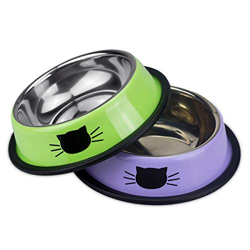 Ureverbasic Stainless Steel Cat Bowls Set of 2