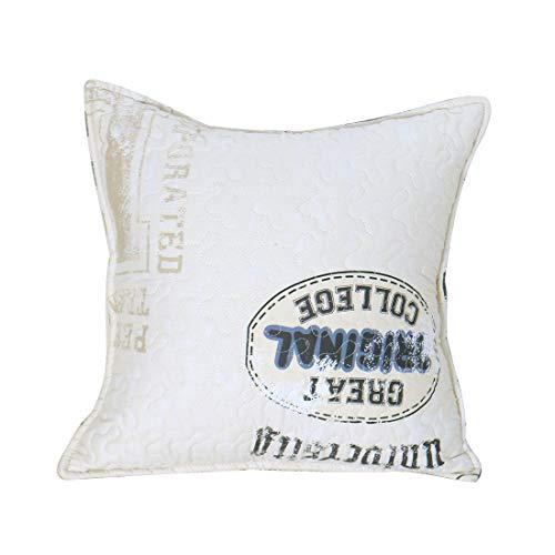 Sourcingmap - Federa decorativa in cotone trapuntato per cuscino lombare, con chiusura a cerniera, per il tempo libero, soggiorno, divano, coach, stampa lettera, 45,7 x 45,7 cm