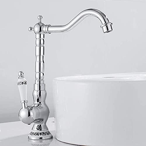 Grifo de cocina de una sola palanca de cerámica para fregadero de cocina Grifo de baño retro giratorio de 360 ° para cocina o baño Grifo mezclador de una sola palanca de estilo vintage (pl