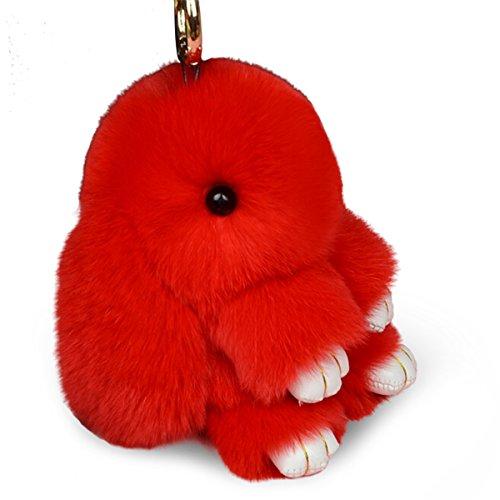 Schlüsselanhänger von Yodensity, Kaninchen aus Kunstpelz, flauschig, Anhänger für Damen-Handtasche, Dekoration, rot, 19*13*8 cm