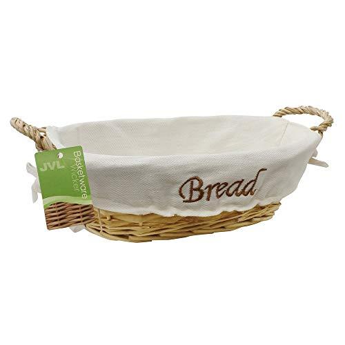 JVL Ovaler Brotkorb mit Griffen, Textileinsatz aus Leinen, mit Aufschrift Bread