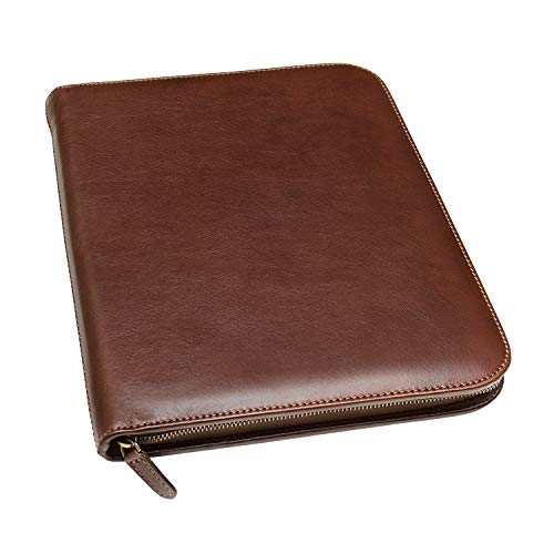 Maruse Personalized Italian Leather Executive Portfolio Padfolio, Folder Organizer with Zip Closure and Writing Pad, Handmade in Italy, Brown