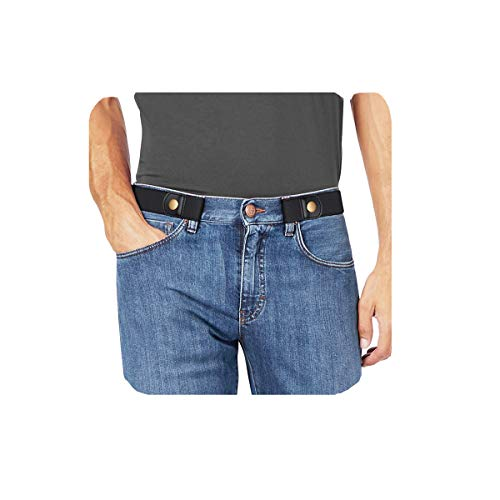 """No Buckle Stretch No Show Belt for Men 1.38 inches Wide, Buckless Invisible Elastic Belt for Jeans Pants by WHIPPY (Small Size:30""""-48"""", 7-black)"""