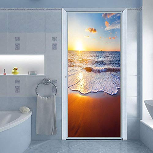 BXZGDJY 3D-deursticker, deurfolie, ocean view, kamers, deurbehang, zelfklevende 3D-deurposter, zelfklevende 3D-deur-raam-behang, verwijderbare deur-decoratie-plakaat muursticker voor doe-het-zelvers 80X200CM