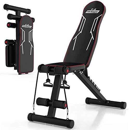 トレーニングベンチ 折りたたみ式 インクラインベンチ 家庭用 腹筋/背筋/体幹用健身マシン シットアップベンチ ダイエット器具 補助縄付き フィットネス 一年保証