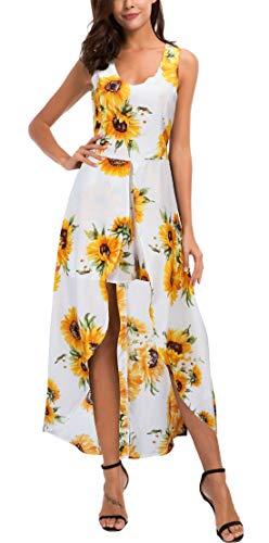 Kormei Womens Sleeveless Scoop Neck Floral Rayon Party Split Maxi Romper Dress S White&Yellow