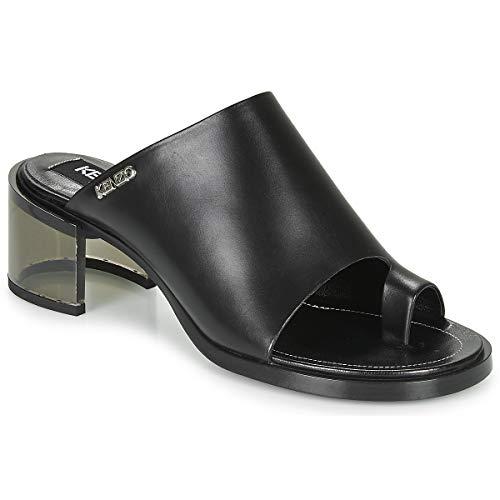Kenzo K Round Mid Heeled Pantoletten/Clogs Damen Schwarz - 40 - Pantoffel Shoes