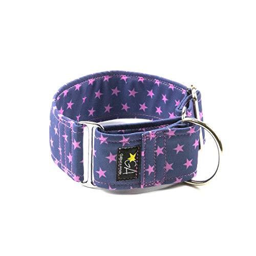 Galguita Amelie, 5cm Ancho Talla XL (50cm - 60cm), Collar para Perro Antiescape. Estrellas Rosas.