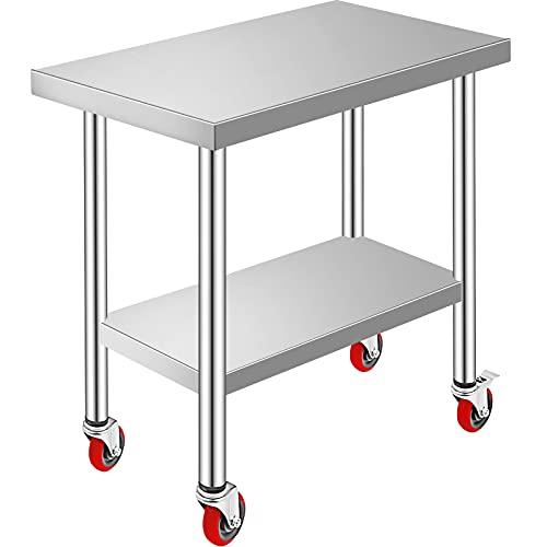 VEVOR rostfritt stål catering arbetsbord 30 x 45 cm kommersiellt köksbord med 4 hjul kommersiell mat förberedelse arbetsbänk med flexibel justeringshylla för köksförberedelsbord